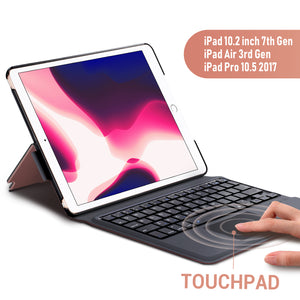 Keyboard Case Touchpad Function for iPad 7th Generation (10.2 inch 2019) / iPad Air 3rd Generation 10.5 2019/iPad Pro 10.5 2017– Stable Touchpad Function- iPad 7th Generation Case with Keyboard