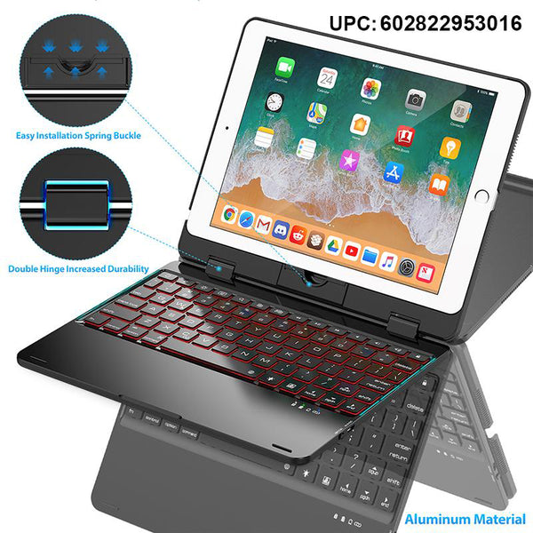 Keyboard Case Compatible with tablet 2018 (6th Gen)/2017 (5th Gen)/Pro 9.7/Air 2 & 1 | Double-Rotating Hinge & Aluminum Keyboard/Case | Colorful Backlit Keys & Long Working Time