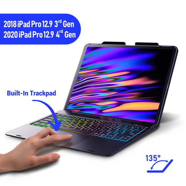 Keyboard Case for iPad Pro 12.9 inch 2018-3rd Gen / 2020-4th Gen – Touchpad Keyboard Compatible with iPad Pro 12.9 – Backlight Protection Wireless Tablet Keyboard - Pencil Holder Included