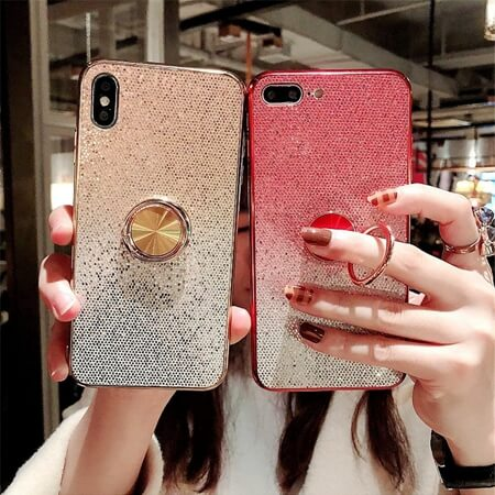 Luxury Glitter Gradient Sequin Case with Magnetic Finger Ring Holder