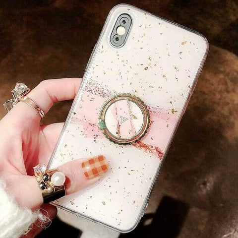 Pink Glossy Gold Foil Glitter Abstract iPhone Case with Ring Holder