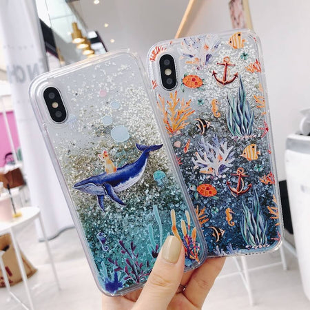 Whale Quicksand Glitter iPhone Case