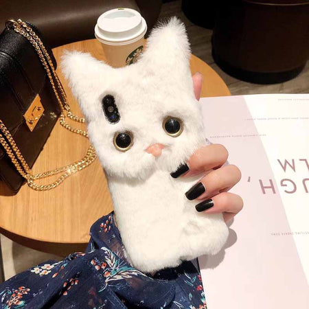 Fluffy Cute & Warm Cat iPhone Case with Strap