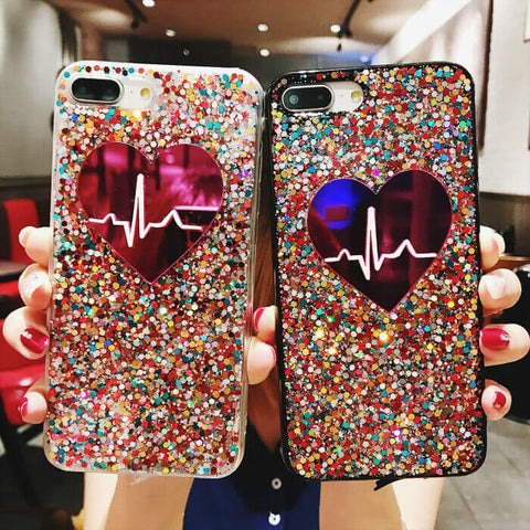 Lovely Heartbeat Glitter iPhone Case