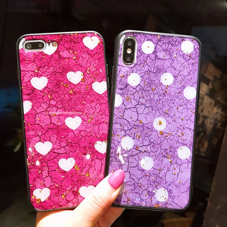 Luxury Gold Foil Bling Marble with Cute Heart Phone Case