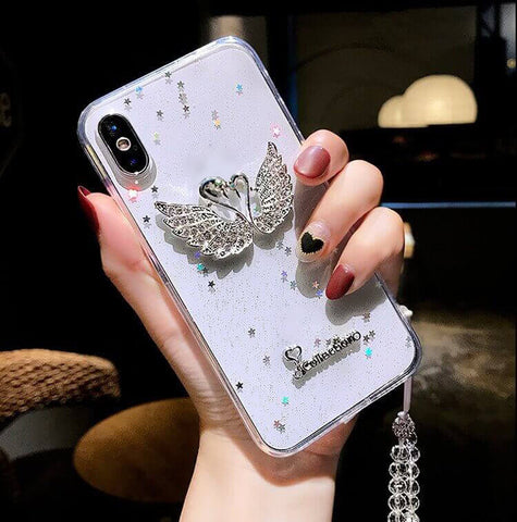 Bling Crystal Swans Transparent Rhinestone iPhone Case