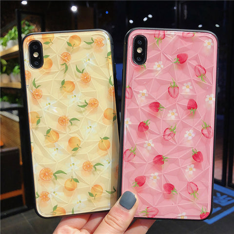 Glitter Cute 3D Diamond  Strawberry & Orange Case