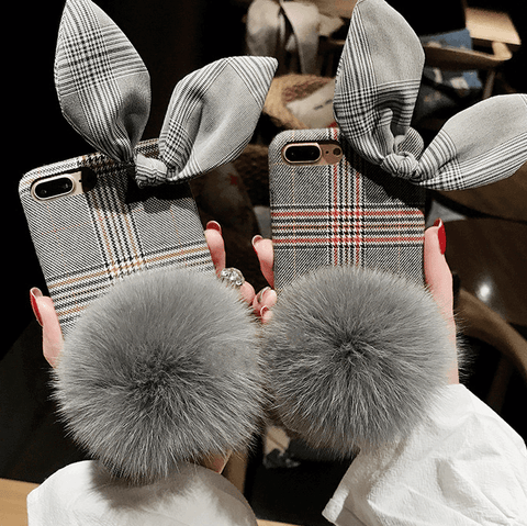 Fluffy Vintage Rabbit Ears Hairball iPhone Case