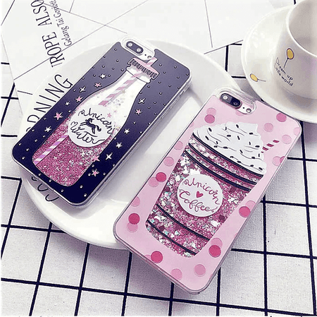 Unicorn Coffee Water Bottle Quicksand iPhone Case
