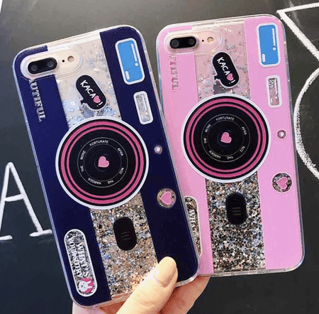 Cute Camera Quicksand iPhone Case