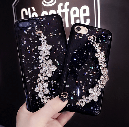 Bling Star Black Glitter Phone Case Flower Bracelet iPhone Case