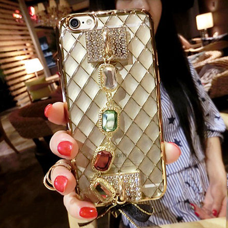 Luxury Diamond Crystal Bracelet  iPhone Case with Bow