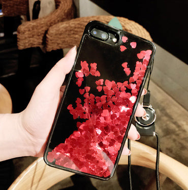 Luxury Glitter Red Heart iPhone Case