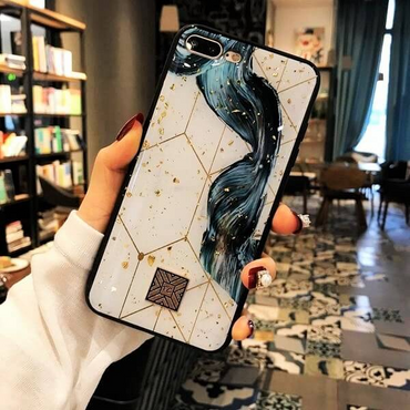 Luxury Gold Foil Marble Glossy iPhone Case