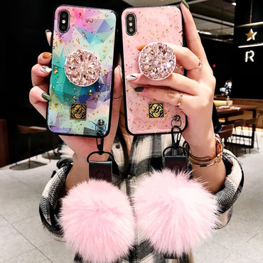Luxury Gold Foil Marble Crystal Bracket iPhone Case with Strap & Fur Ball