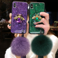 Luxury Marble Glitter Bee iPhone with Strap & Fur Ball