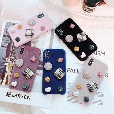 Cute Fashionable Warm Fur Furry Buttons iPhone Case