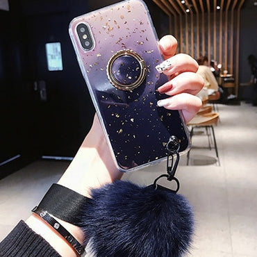 Luxury Gradient Marble Gold Foil iPhone Case with Bracket & Fur Ball