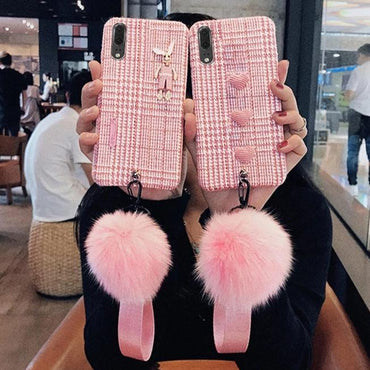 Pink Plaid Phone Case For iPhone Case with Wristband & Fur Ball