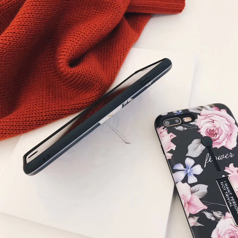 Flower iPhone Case with Silicon Ring
