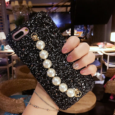 Luxury Fancy Cute Pearl Chain Bracelet iPhone Case