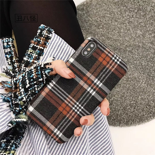 Vintage Plaid England Style Fabric iPhone Case