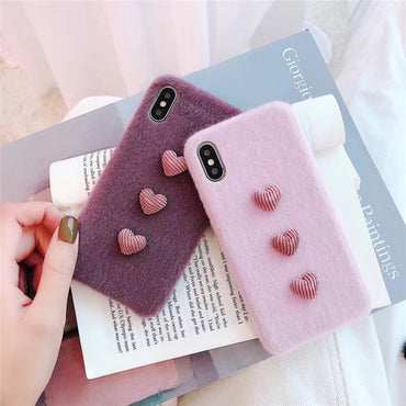 Fashionable 3D Love Heart Warm Winter iPhone Case