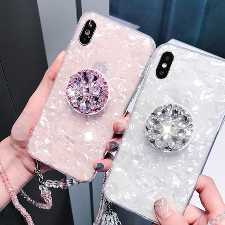 Luxury Marble iPhone Case with Rhinestone Pop Socket and Strap