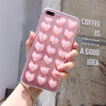 Glitter 3D Heart iPhone Case