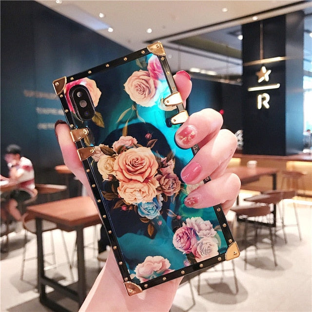 Glossy Blue Ray Rose Square iPhone Case With Pop Socket
