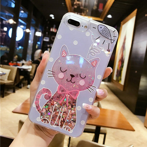 Glitter Cat Quick Sand iPhone Case