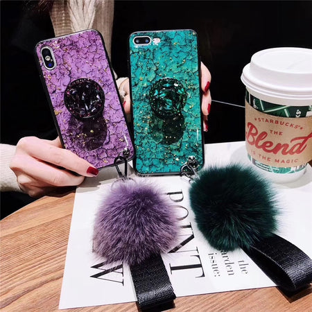 Luxury Marble iPhone Case with Cute Ball and Strap