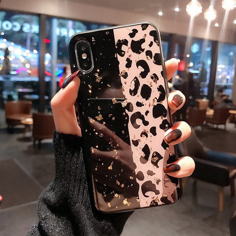 Glossy Leopard Print with Gold Foil iPhone Case