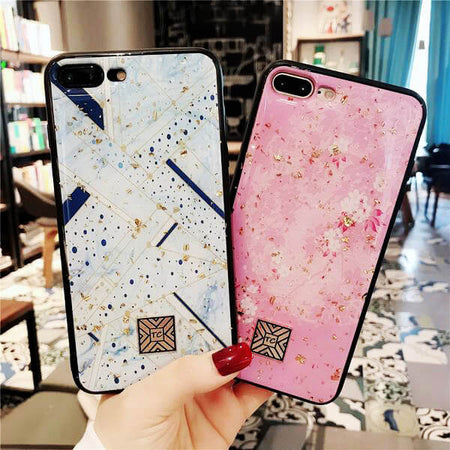 Luxury Glossy Cute Blue & Pink  iPhone Case