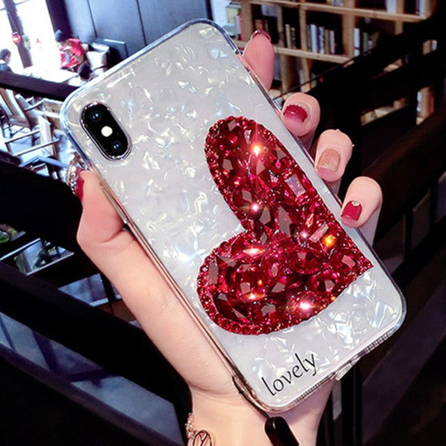 Luxury Rhinestone Lovely Heart iPhone Case