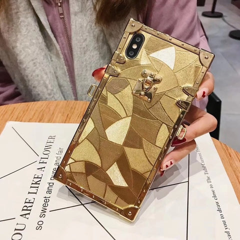 Hot Luxury Square Gold Glitter iPhone Case