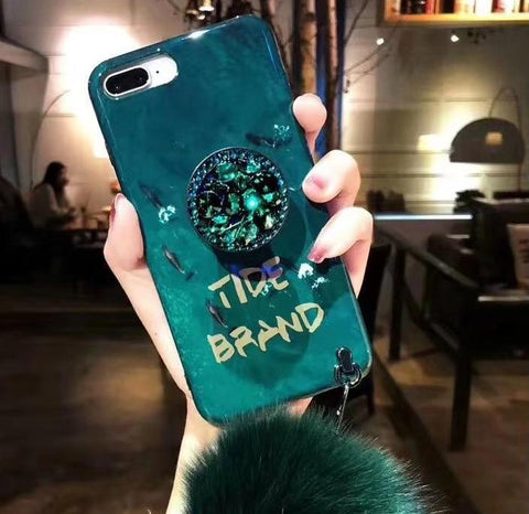 DIY Emerald Fur Ball iPhone case with Strap