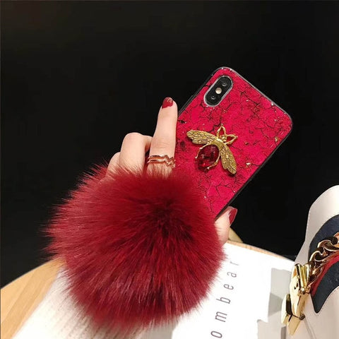 Crystal Luxury iPhone Case with Ball & Strap