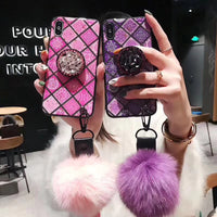 Luxury Glitter Retro iPhone Case with Wrist Strap