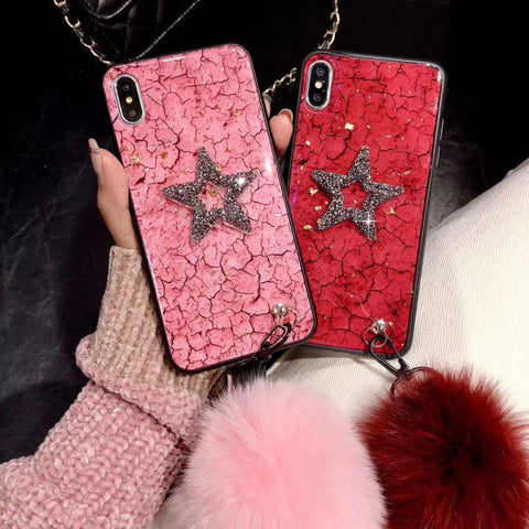 Lucky Star Marble iPhone Cases with wrist Strap