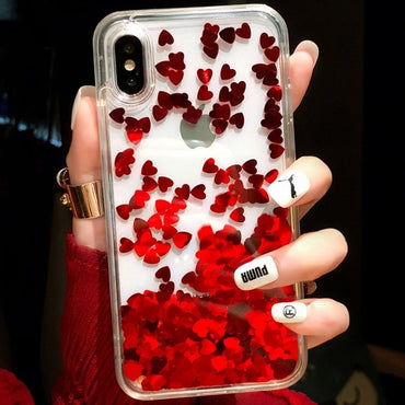 Lovely Heart Quicksand iPhone Case