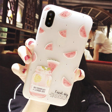 Cute Embossed Watermelon Soft iPhone Case