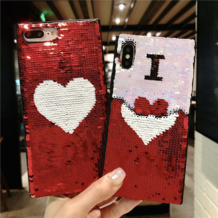 3D Love Heart Bling Sequins iPhone Case