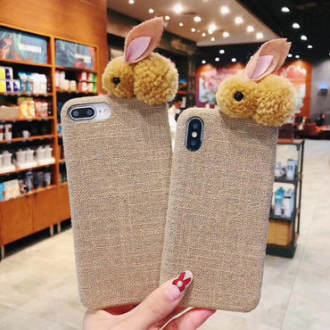 Luxury Plush Rabbit Soft Cloth iphone case