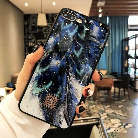 Luxury Gold Foil Peacock Feather iPhone Case