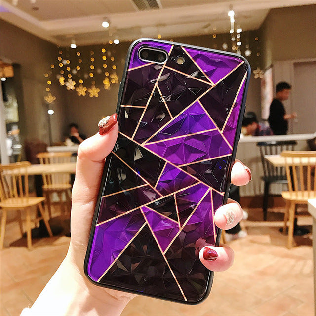 Shiny 3D Diamond Cutting Geometry iPhone Case