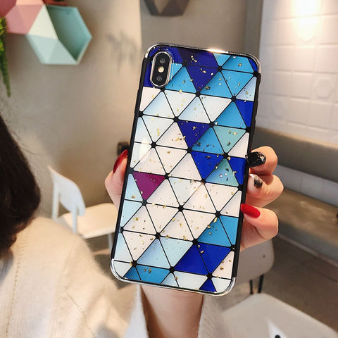 Gold Foil Gradient Grid iPhone Case
