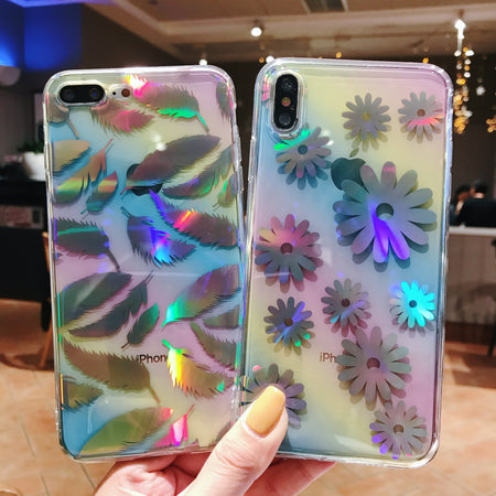 Laser Shine Daisy Leaf Glossy iPhone Case