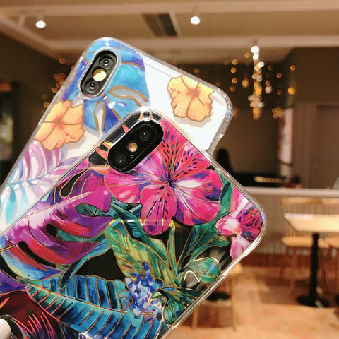 Fashionable Laser Tropical Leaf iPhone Case