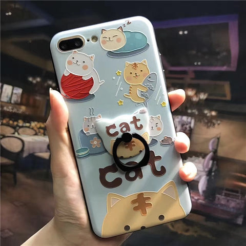 Lovely Cat iPhone Cases with Stand Holder